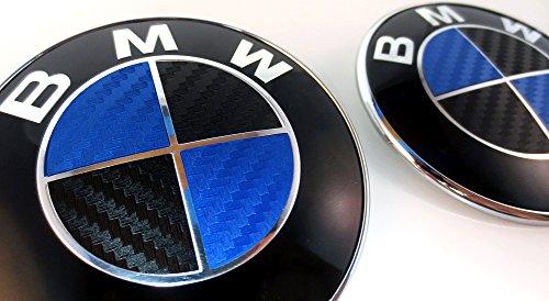 BLACK and BLUE Carbon Fiber Sticker Overlay Vinyl for All BMW Emblems Caps Logos Roundels (Carbon Fiber Cars For Sticker)