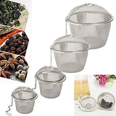 Coolrunner Durable Silver Tea Strainer Reusable Stainless Mesh Herbal Ball Tea Spice Teakettle Locking Tea Filter Infuser Spice