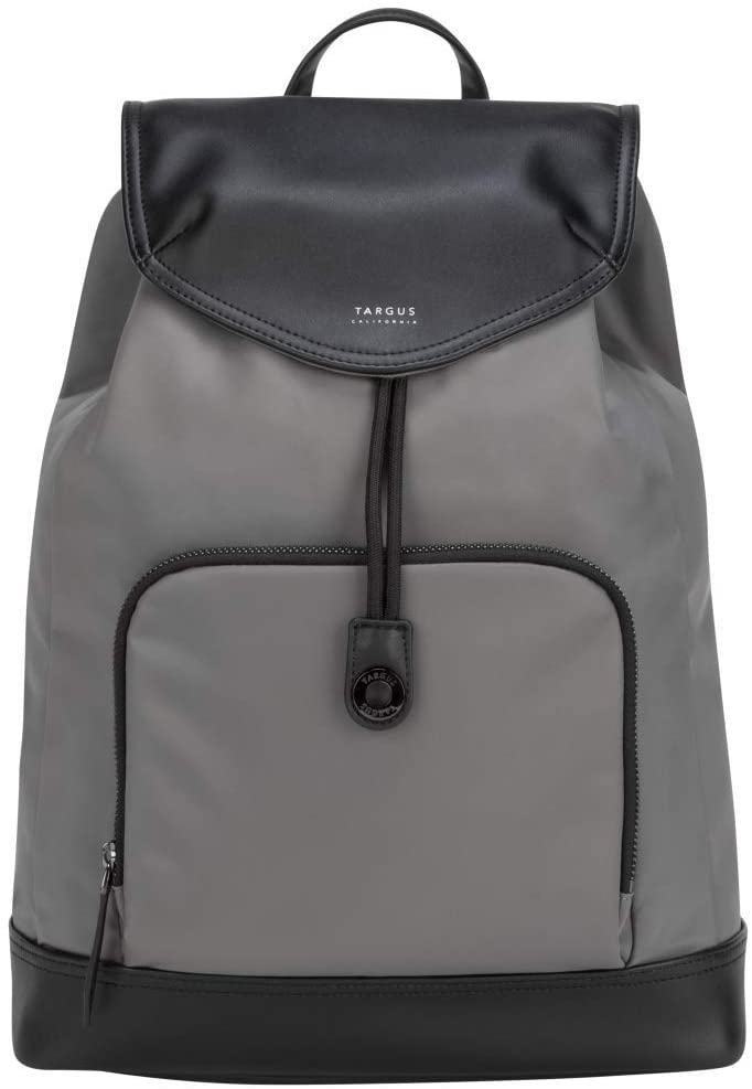 Targus Newport Drawstring Travel and Commute Backpack, Sleek Professional Design with Water-Repellent Nylon, Magnetic Secure Closure, Protective Sleeve fits 15-Inch Laptop, Gray (TSB96404GL)