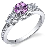 Enchanting 0.50 Carats Created Pink Sapphire Ring in Sterling Silver Rhodium Nickel Finish Size 6