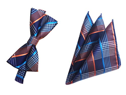 Navy Blue Orange Bowties Set Pre-Tied Bow Ties For Men Suit Fitness Fashion Gift by Ctskyte