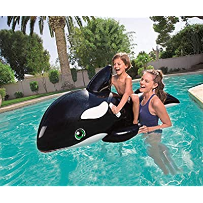 H2OGO! Jumbo Whale Rider Inflatable Pool Float: Toys & Games