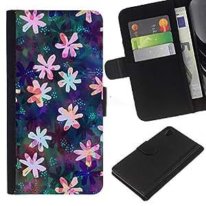 Sony Xperia Z4 / Sony Xperia Z4V / E6508 Modelo colorido cuero carpeta tirón caso cubierta piel Holster Funda protección - Floral Drawing Iridescent Feminine