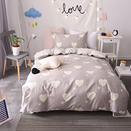 BuLuTu Girls Bedding Duvet Cover Sets Twin Cotton Love Print 3 Pieces Reversible Kids Duvet Cover Sets Light Brown Zipper Closure With 4 Corner Ties For Home Bedding,NO COMFORTER