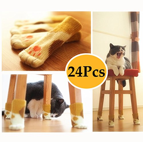 Hardwood Chaise (Xsorter Chair Socks 24-Pack, Brown Furniture Socks, Elastic Chair Leg Protectors with Cute Vivid Bear Wool Knitting to Silently Protect Hardwood and Tiles Floor from Scratches (Calico Cat 24pcs))