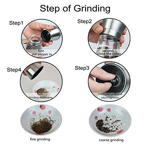 Salt Pepper Mill Grinder Set - Brushed Stainless Steel Glass Body Manual Adjustable Ceramic Grinder to Coarseness Matching Stainless Steel Stand Kitchen Accessories Cooking Tools 2 set of