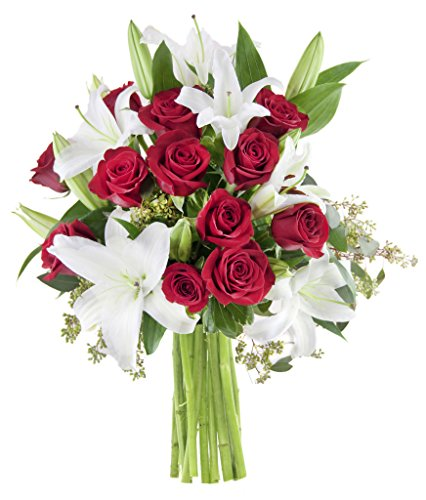 5 Dozen Roses (KaBloom Romantic Night at The Met Bouquet of a Dozen Red Roses and 5 White Oriental Lilies Accented with Lush Greens)