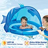 SwimSchool Blue Fun Fish Fabric Baby Boat, Retractable Canopy, UPF 50, Extra-Wide Inflatable Pool Float, 6 to 24 Months