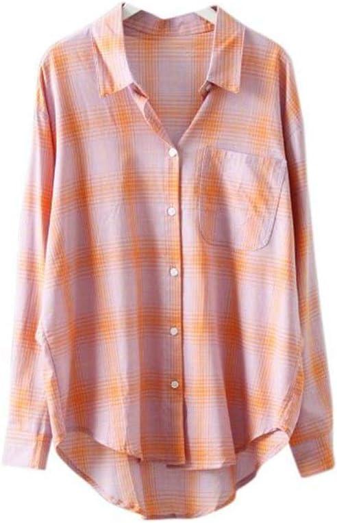 DAFREW Camisa de Verano a Cuadros Ropa de protección Solar Salvaje Camisa Suelta Camisa de Manga Larga Fresca cómoda Camisa a Cuadros Retro (Color : Rosado, Tamaño : L): Amazon.es: Hogar
