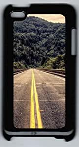 Apple iPod 4 Case and Cover - Mountains landscapes road PC Case Cover for iPod 4/ iPod 4th Generation - Black