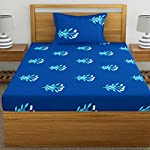 Home Ecstasy 100% Cotton bedsheets for Single Bed Cotton, 140tc Floral Blue Single bedsheet with Pillow Cover (4.8ft x 7.3ft)