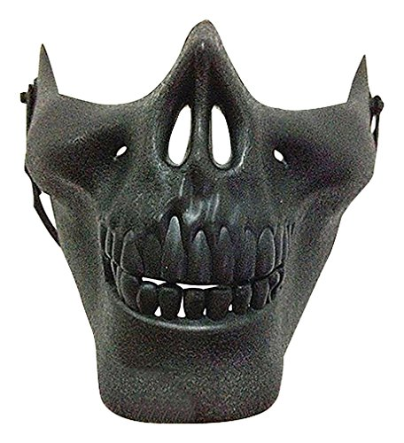 Maze Scary Convincing Eclectic Tones Skull Lower Part Plastic Half Face Masks, Black One - Mask 1 Part