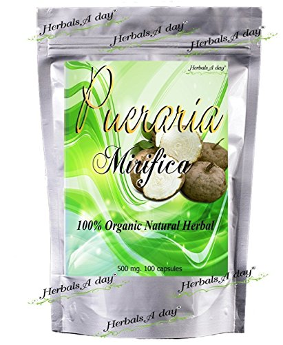 100 Caps X 500mg Pueraria Mirifica Powder Root Extract Breast Best Enhancement Augmentation Grown in Thailand Highest Mountain (Mirifica Breast Pueraria)