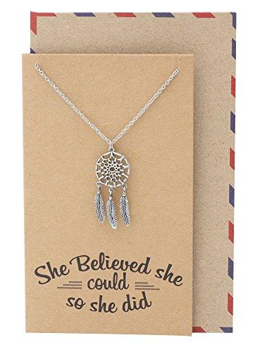 Quan Jewelry Tribal Dream Catcher Necklace, Boho Style, Protective Amulet, Feather Dreamcatcher Necklaces, Bohemian Pendant, Protection Charm
