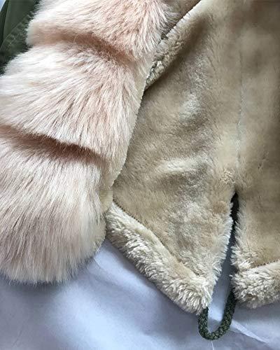Taille Aofur Capuche Parka Hiver Grande Vert Blouson Chaud Veste Militaire Avec Femme Fourrure Style Manteau gqSrgxP