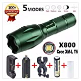 Doinshop X800 Flashlight LED Zoomable Military Torch G700 With Battery Charger Set (Green)