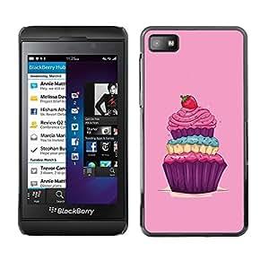 Be Good Phone Accessory // Dura Cáscara cubierta Protectora Caso Carcasa Funda de Protección para Blackberry Z10 // Cupcake Sweets Sugar Drawing Vintage Berry