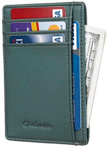 Chelmon Slim Wallet RFID Front Pocket Wallet Minimalist Secure Thin Credit Card Holder (GeNapa Green)