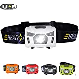 Three trees Sensor USB Rechargeable Headlamp Flashlight Switching Red Strobe Headlight For Camping Hiking Running Kids ,Including Super Bright 200 Lumens Waterproof (white)