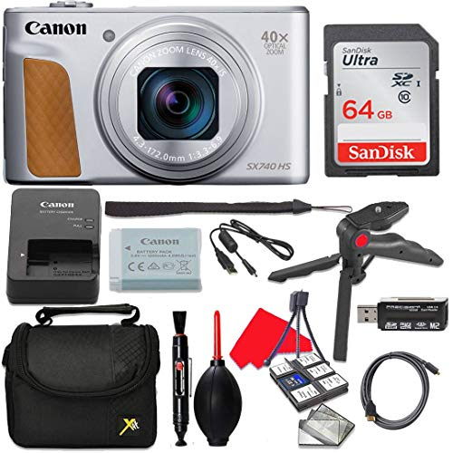 Canon PowerShot SX740 (Silver) HS 20.3MP 40x Optical Zoom Digital Camera with 4K Video + 64GB High Speed Memory Card + Hand Grip Tripod + Camera Case + Accessories (10 Items)