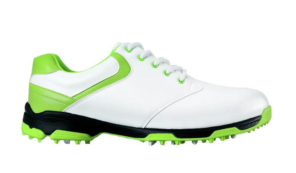 (ロモンス)Romons メンズ イングランド風 Golf ゴルフシューズ 超軽量 防水 滑り止め スパイク B01HEZ67VE 26.5 cm ホワイト/グリーン