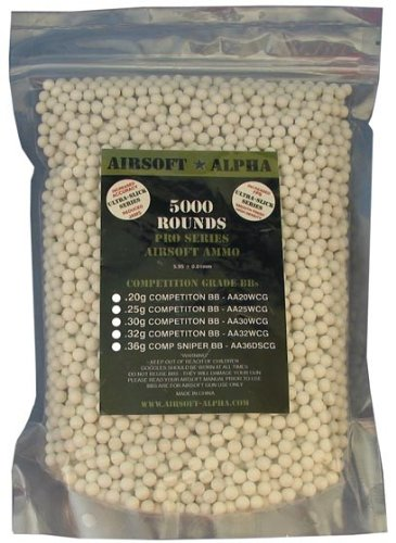 Airsoft Alpha Competition Grade BB .32 Gram (5000 Count Bag)