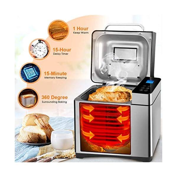 Macchina per il pane programmabile, 19 programmi da 710 W, con display retroilluminato blu e timer programmabile 15 ore… 3