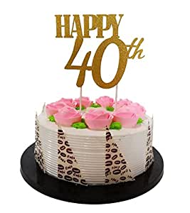 "Amazon.com: Gold Glitter ""Happy 40th"" Birthday Cake topper ..."