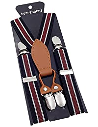 Panegy Braces Kids Childrens Elastic Adjustable Suspenders In Y Shape-Blue White and Red Strapes