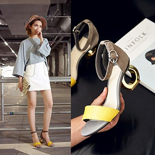 Sandals Yellow New Open Summer Screen Size A Women's 35 Suede Color Heterotypic Color Black 2018 for Buckle Spring Heel Shoes Toe zBt6xwY