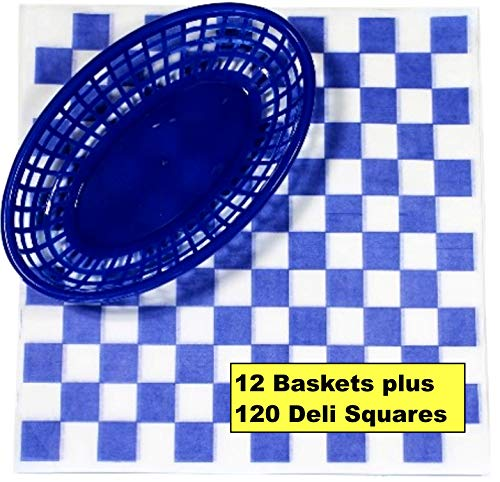 12 Blue Plastic Oval Food/Burger Baskets plus 120 Checkered Deli Paper Liners. Restaurant/Food Tray Basket Sets for Barbecues, Picnics, Parties, Kids Meals, - Blue Bread Baskets