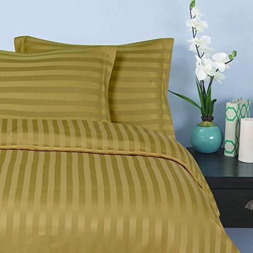 Stripe Bed Gold - Elegant Comfort® Silky-Soft 1500 Thread Count Egyptian Quality Wrinkle-Free 3-Piece Duvet Cover Set, Full/Queen, Gold