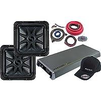 Kicker Bundle of 5 Items: Two 44L7S124 12 L7S Series Subwoofers w/EX2000.1 Mono Amplifier, 0G Amplifier Kit and Black Cap L/XL
