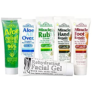 Miracle Assortment 6-Pack - Miracle Foot Repair, Miracle Hand Repair, Miracle Rub, Aloe All Over, Aloe Relief, Rehydrating Facial Gel