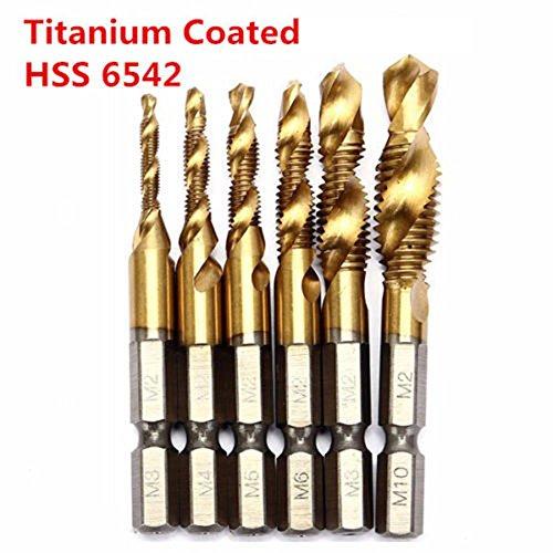 Price comparison product image Mechanical Parts 6pcs HSS 6542 Titanium Coated M3-M10 Combination Drill Tap Bit Set 1 / 4 Inch Hex Metric Deburr Countersink Bits