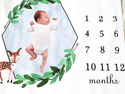 Baby Monthly Milestone Blanket, 40×60 Inches Infant First Year Flannel Fleece Lion Elephant Monkey Giraffe Milestone Blanket, Photography Backdrop Photo Prop for Newborn Boy Girl