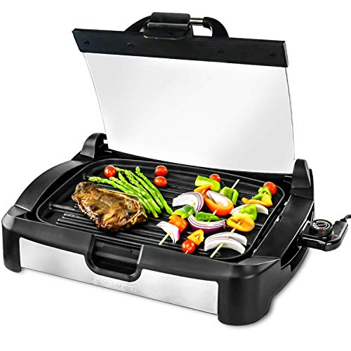 Ovente GR2001B Electric Grill, 1700W, Reversible Grill &Griddle, Heat-Tempered Glass Lid, Free Scraper, Removable Temperature Control Knob, Drip Tray, Black