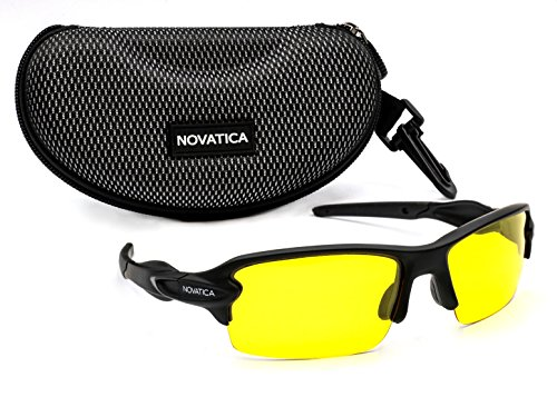 NOVATICA Anti-Glare Night Driving Polarized TAC Glasses - HD Vision - UV 400 Protection - Sport Sunglasses - Men & Women - Yellow Lenses - Durable TR 90 Frame Plus Accessories