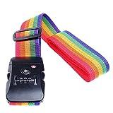 UrCool TSA Lock Travel Luggage Strap Suitcase Belt Secure Coded Lock Adjustable Suitcases Cross Luggage Straps Rainbow - 190cm 74.8''