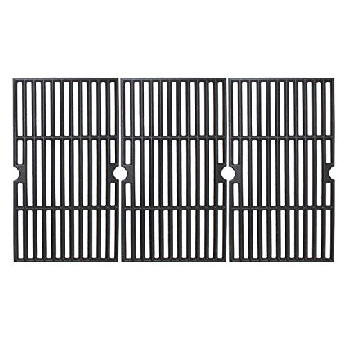 "MikeGarden Matte Enamel Cast Iron Cooking Grates 16 7/8 x 27 15/16"" for Charbroil 463441312, 463441412, 463441512, 463441513, 463441514, 463460708, 463460710, 463461613, Set of 3"