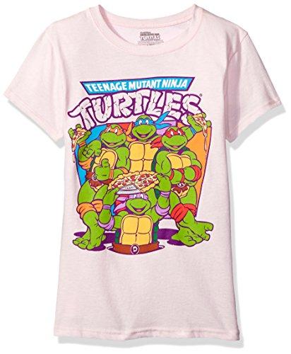 Teenage Mutant Ninja Turtles Little Girls' Pizza T-Shirt Shirt, Light Pink, Small - 4