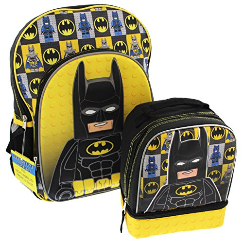 Lego Batman 16 inch Backpack and Lunch Box Set (Black/Yellow)