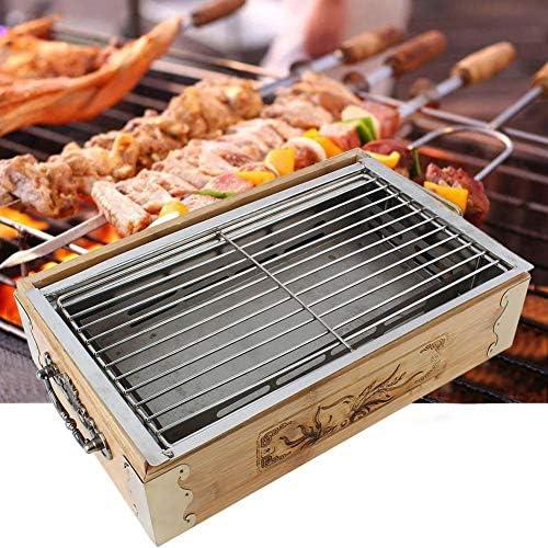 Vikye Barbecue Grill, ménage extérieur Barbecue Outils de Cuisson Plateau de Cuisson au Charbon de Bois en Bois Massif et en Acier Inoxydable