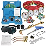 ZENSTYLE Oxygen & Acetylene Gas Cutting Torch and Welding Kit Portable Oxy Brazing Welder Tool Set with 2 Sets Hose,Goggles,Regulator Gauges,Storage Case