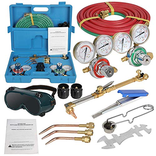 ZENSTYLE Oxygen & Acetylene Gas Cutting Torch and Welding Kit Portable Oxy Brazing Welder Tool Set with Two Hose,Goggles,Regulator Gauges,Storage Case from ZenStyle