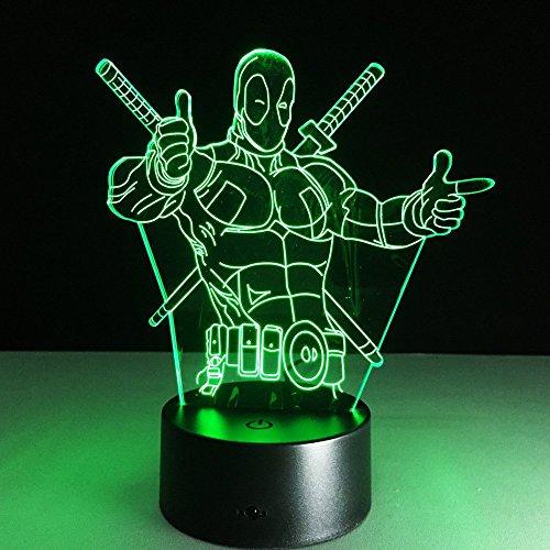 3D Desk lamp Acrylic Deadpool Night light 7 color change Furniture Decorative colorful gift household Accessories Boy (Deadpool Colors)