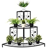 Giantex 3 Tier Plant Stand Floral Corner Metal Flower Pot Rack Stair-Step Style Display Ladder