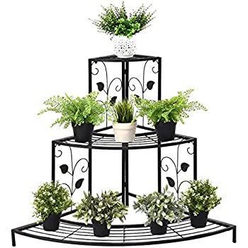 3b74ed9216bd Giantex 3 Tier Plant Stand Floral Corner Metal Flower Pot Rack Stair-Step  Style Display Ladder