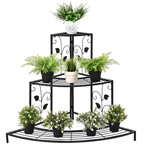 Giantex 3 Tier Plant Stand Floral Corner Metal Flower Pot Rack Stair-Step Style Display Ladder (Stand Corner Plant)