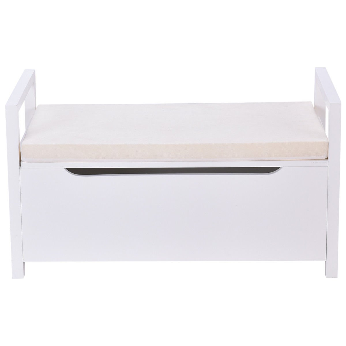 Shoe Bench Storage Rack Cushion Seat Ottoman Bedroom Hallway Entryway White by Happybeamy